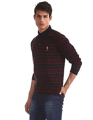 U.S. Polo Assn. Blue Long Sleeve Striped Polo Shirt