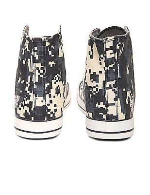 Flying Machine Printed High Top Canvas Sneakers
