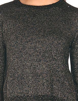 Elle Metallic Knit Crew Neck Sweater
