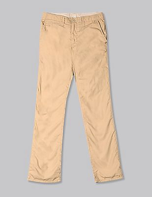 GAP Beige Boys Jersey-Lined Straight Khakis
