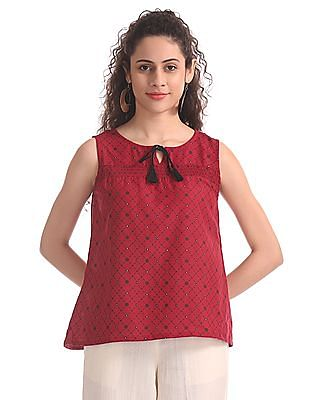 Bronz Red Smocked Front Printed Top