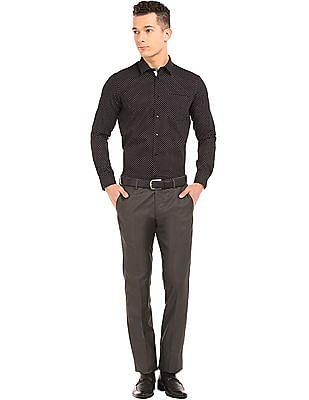 Arrow Patterned Weave Slim Fit Trousers