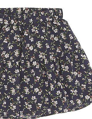 Cherokee Girls Floral Print Flared Skirt