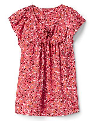 GAP Women Pink Short Sleeve Tie Neck Floral Print Blouse