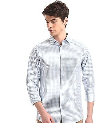 Excalibur Blue French Placket Check Shirt