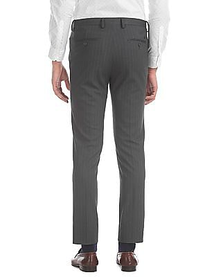 Arrow Newyork Grey Super Slim Fit Striped Trousers