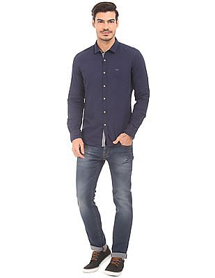 Flying Machine Patterned Weave Slim Fit Shirt