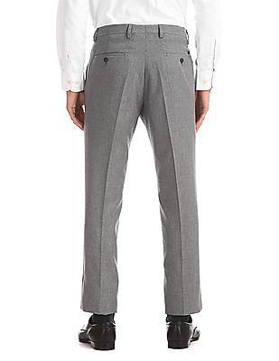 Arrow Newyork Grey Flat Front Patterned Trousers