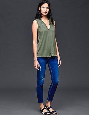 GAP Women Green Shirred V-Neck Top