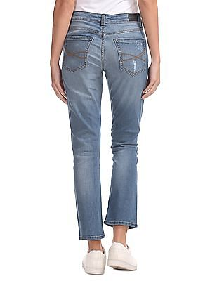 Aeropostale Ankle Straight Fit Distressed Jeans