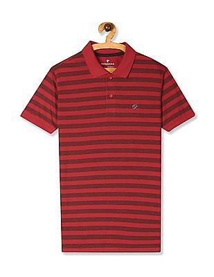 Ruggers Red Ribbed Collar Contrast Stripe Polo Shirt