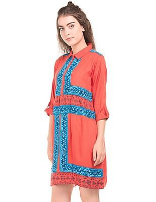 Bronz Printed Panelled Tunic