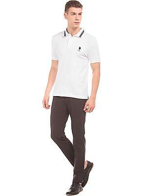 U.S. Polo Assn. Striped Collar Slim Fit Polo Shirt