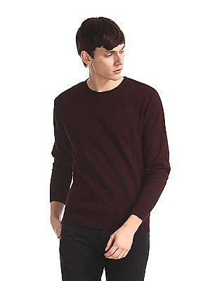 Flying Machine Red Round Neck Patterned Knit Sweater