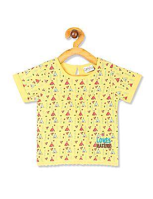 Donuts Yellow Girls Lace Hem Printed T-Shirt