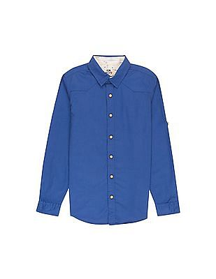 FM Boys Boys Western Yoke Slim Fit Shirt