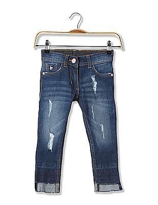 U.S. Polo Assn. Kids Girls Slim Fit Stone Wash Jeans