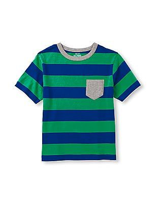 The Children's Place Boys Short Sleeve Striped Pocket Tee
