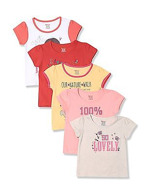 Donuts Girls Puff Sleeve T-Shirt - Pack Of 5