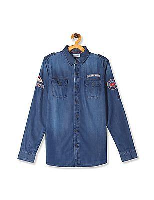 U.S. Polo Assn. Kids Blue Boys Roll Up Sleeve Denim Shirt