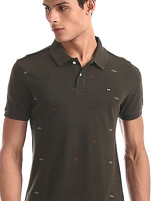 Arrow Sports Green Printed Compact Cotton Polo Shirt