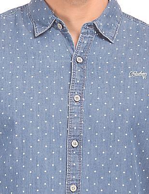 Cherokee Polka Print Denim Shirt