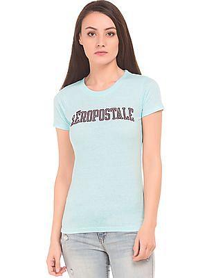 Aeropostale Heathered Flock Print T-Shirt
