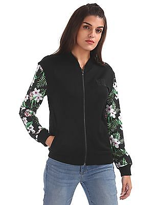 EdHardy Women Printed Sleeve Zip Up Sweatshirt