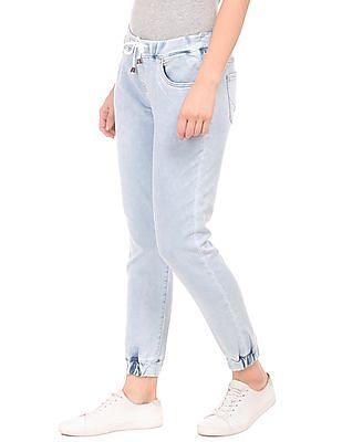 U.S. Polo Assn. Women Elasticized Waist Washed Jogger Jeans