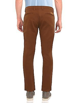 Ruggers Brown Modern Slim Fit Solid Trousers