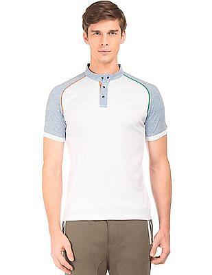 Arrow Sports Colour Block Mandarin Polo Shirt
