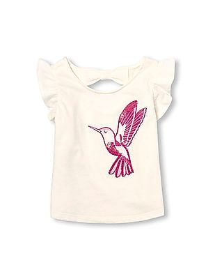 The Children's Place Toddler Girl White Short Ruffle Sleeve Embellished Graphic Bow Cutout Back Top
