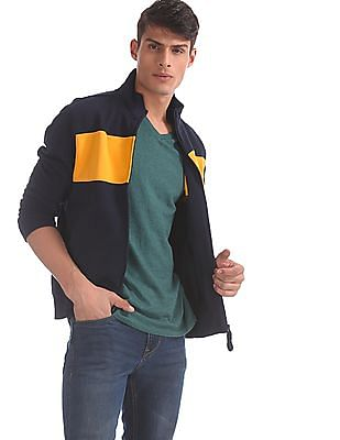 U.S. Polo Assn. Blue Colour Block Chest Zip Up Sweatshirt