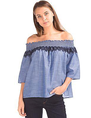 GAP Women Blue Smocked Off Shoulder Embroidery Top