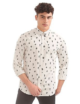 Aeropostale Cactus Print Button Down Shirt