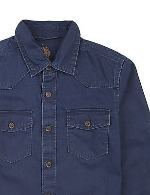 U.S. Polo Assn. Kids Boys Western Yoke Denim Shirt