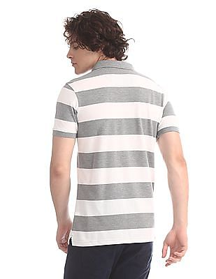 Ruggers Grey And White Striped Pique Polo Shirt