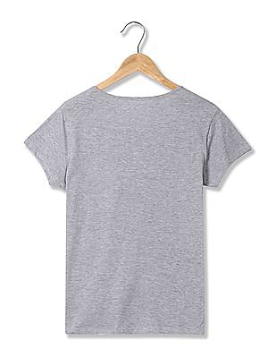SUGR Heathered Printed T-Shirt