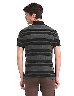 Ruggers Charcoal and Black Horizontal Stripe Tipped Polo Shirt