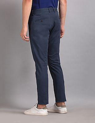 True Blue Blue Slim Fit Solid Trousers