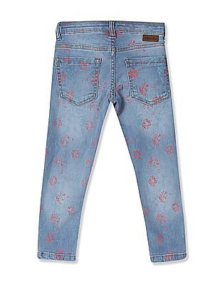 Cherokee Girls Mid Rise Printed Jeans