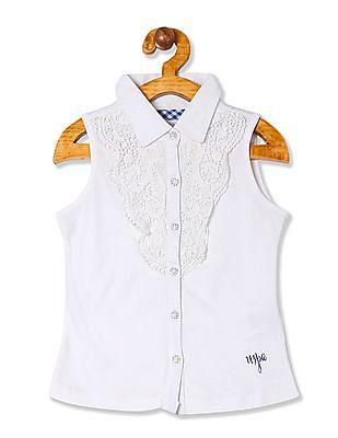 U.S. Polo Assn. Kids Girls Crotchet Overlay Knit Shirt