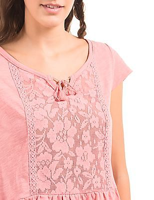 Aeropostale Lace Panel Slubbed Top