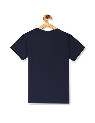 FM Boys Blue Boys Printed Front Crew Neck T-Shirt