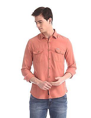U.S. Polo Assn. Denim Co. Orange Flap Pocket Solid Shirt