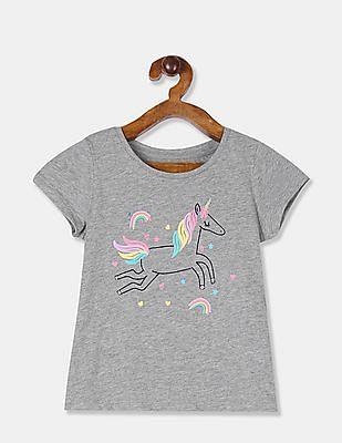 GAP Toddler Girl Grey Graphic Short Sleeve T-Shirt