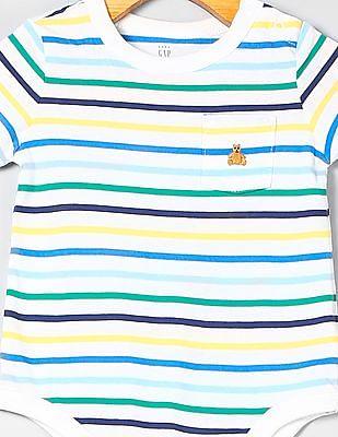 GAP Baby Stripe Pocket Short Sleeve Bodysuit