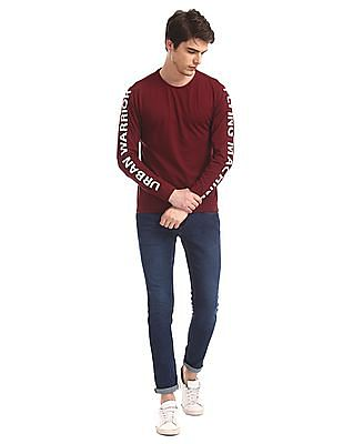 Flying Machine Red Printed Sleeve Crew Neck t-Shirt