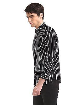 Flying Machine Black Vertical Stripe Barrel Cuff Shirt