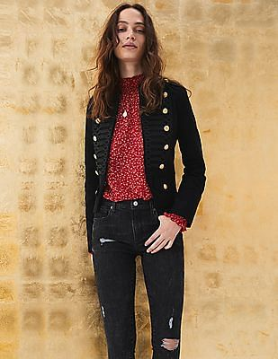GAP Mid Rise True Skinny Jeans In Sculpt With Destructed Detail